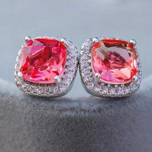 *NEW White Gold Pink Diamond Halo Stud Earrings